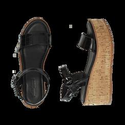 Sandali neri stampa cocco, zeppa 7,50 cm, Scarpe, 154967318CCNERO, 003 preview