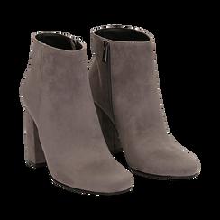 Ankle boots grigi in microfibra, tacco 9 cm , Stivaletti, 142708221MFGRIG035, 002a