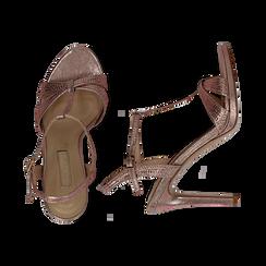 Sandalo rosa in laminato, tacco 10,50 cm, Scarpe, 132127402LMROSA036, 003 preview