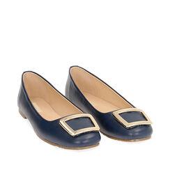 Ballerines bleu avec boucle, Chaussures, 174969811EPBLUE035, 002a