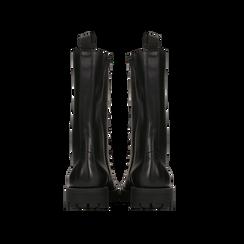 Anfibi neri in vera pelle, con catene e gambale alto, tacco basso, Scarpe, 127723701VINERO, 003 preview