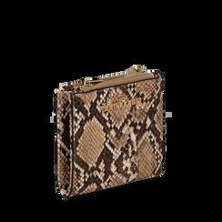Portafogli quadrato beige in eco-pelle effetto snake skin, Borse, 132300001PTBEIGUNI, 002a
