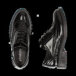 Stringate nere in eco-pelle abrasivata con lavorazione Duilio, Scarpe, 140618203ABNERO036, 003 preview