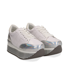 Sneakers bianche in eco-pelle con platform argento, Scarpe, 130751703EPBIAR037, 002a