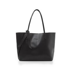 Shopping bag nera in eco-pelle con fiocco decor, Borse, 133782945EPNEROUNI, 001 preview