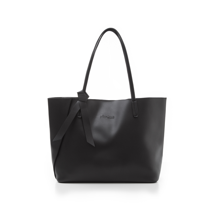 Shopping bag nera in eco-pelle con fiocco decor, Borse, 133782945EPNEROUNI