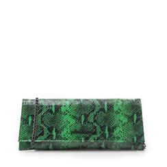 Pochette piatta verde in eco-pelle effetto snake, 145122509PTVERDUNI, 001a