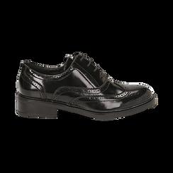 Stringate nere in eco-pelle abrasivata con lavorazione Duilio, Scarpe, 140618203ABNERO036, 001 preview