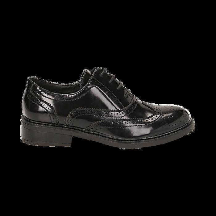 Stringate nere in eco-pelle abrasivata con lavorazione Duilio, Scarpe, 140618203ABNERO036