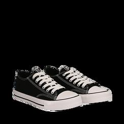 Sneakers nere in canvas, Scarpe, 137300862CANERO035, 002a