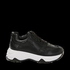 Dad shoes nere in eco-pelle, zeppa 5 cm , Scarpe, 142008356EPNERO036, 001a