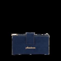 Portafogli blu in microfibra, IDEE REGALO, 165122158MFBLUEUNI, 001a