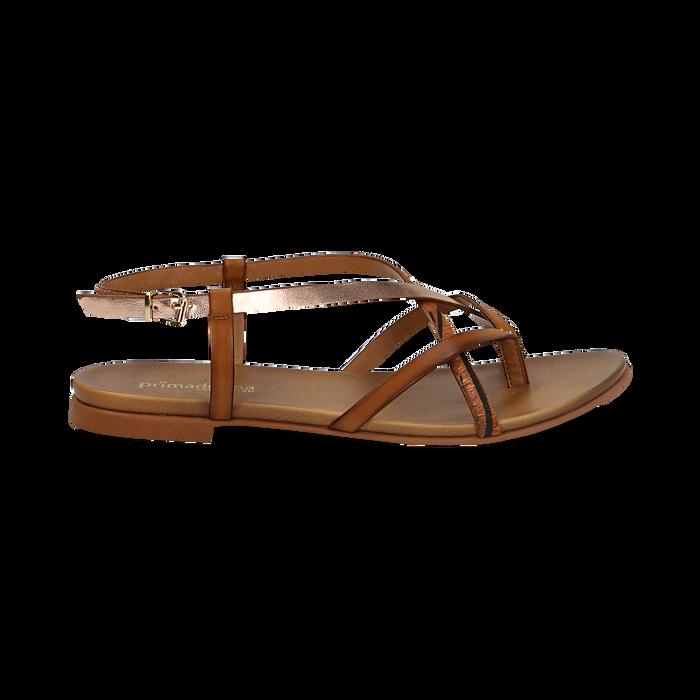 Sandali infradito cuoio in eco-pelle, Primadonna, 13B961532EPCUOI036