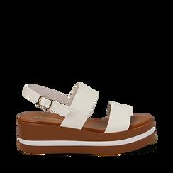 Sandali platform bianchi in eco-pelle, zeppa 5 cm , Scarpe, 132147512EPBIAN035, 001a