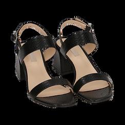 Sandali neri stampa pitone, tacco 6,50 cm, Primadonna, 152790111PTNERO036, 002 preview