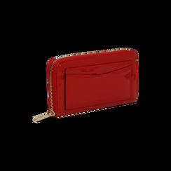 Portafoglio rosso in ecopelle vernice con 10 vani, Saldi, 125709023VEROSSUNI, 003