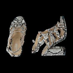 Sandali cage bianco/neri stampa pitone tacco 10,5 cm, Primadonna, 152760843PTBINE036, 003 preview
