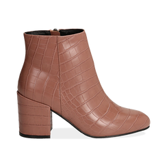 Ankle boots nude stampa cocco, tacco 7,5 cm , Stivaletti, 142762715CCNUDE036, 001 preview