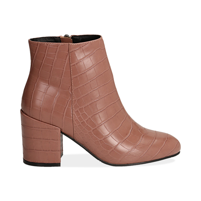 Ankle boots nude stampa cocco, tacco 7,5 cm , Stivaletti, 142762715CCNUDE036