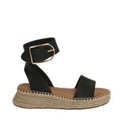Sandalias negras, cuña de 4,5 cm, 174920191EPNERO037, 001a