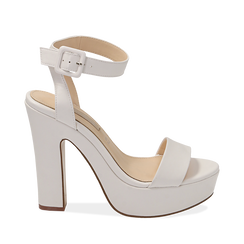 Sandali bianchi in eco-pelle, tacco 12,50 cm , Chaussures, 158480410EPBIAN036, 001a