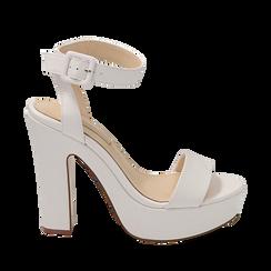 Sandali bianchi in eco-pelle, tacco 12,50 cm , Primadonna, 158480410EPBIAN035, 001a