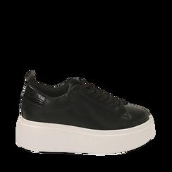 Zapatillas color negro, cuña 6,50 cm , Primadonna, 167505101EPNERO037, 001a