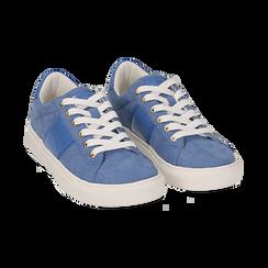 Sneakers azzurre in microfibra, Scarpe, 152619072MFAZZU035, 002 preview
