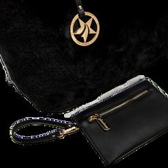 Borsa shopper nera in pelliccia con pochette e portamonete, Borse, 125702076FUNEROUNI, 005 preview