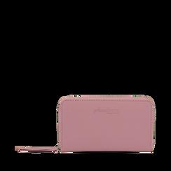 Portafoglio rosa in eco-pelle a tre scomparti, Borse, 133723501EPROSAUNI, 001a