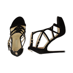 Sandali cage neri in microfibra, tacco 12 cm, Scarpe, 132182187MFNERO035, 003 preview