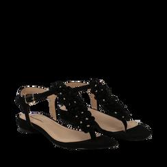 Sandali flat neri in microfibra con fiori, Scarpe, 134917048MFNERO035, 002a