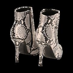 Ankle boots beige/neri effetto snake, tacco 11 cm , Stivaletti, 142182015PTBENE035, 004 preview