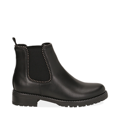 Chelsea boots neri in eco-pelle con micro boules, Scarpe, 140691301EPNERO035, 001a
