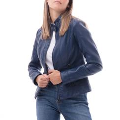 Biker jacket blu in eco-pelle, Abbigliamento, 146500127EPBLUE3XL, 001a