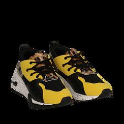 Sneakers nere in tessuto tecnico con dettagli leopard, zeppa 6,50 cm , Scarpe, 14D814201TSNERO035, 002a