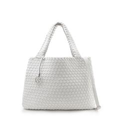 Maxi-bag bianca in eco-pelle intrecciata , Borse, 135786118EIBIANUNI, 001a