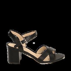 Sandali neri, tacco 7 cm, Scarpe, 152990638EPNERO036, 001a