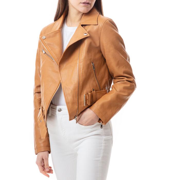 Biker jacket color cuoio , Primadonna, 176520618EPCUOIL