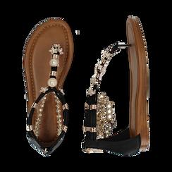 Sandali gioiello flat neri in raso , Primadonna, 133601507RSNERO, 003 preview