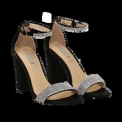 Sandali neri in raso con mini cristalli, tacco 10,5 cm,