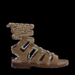Sandali gladiator taupe in camoscio, Scarpe, 138100348CMTAUP035, 001a