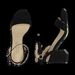 Sandali neri in microfibra, tacco 7,50 cm, Scarpe, 154891720MFNERO038, 003 preview