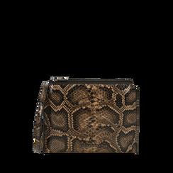 Sachet noir/brun imprimé python, IDEE REGALO, 165122634PTNEMAUNI, 001a