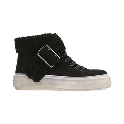 Sneakers nere con risvolto in eco-shearling, Primadonna, 124110063MFNERO036, 001 preview
