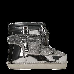 Scarponcini da neve argento dettagli in vernice e glitter, Primadonna, 124106721GLARGE035, 001a
