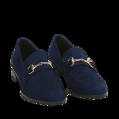 Mocassini blu in microfibra, Scarpe, 164964141MFBLUE035, 002a