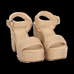 Sandali beige in rafia, tacco-zeppa 10 cm , Chaussures, 154955172RFBEIG036, 002 preview