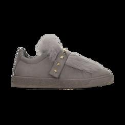 Sneakers grigie slip-on con dettagli faux-fur e borchie, Scarpe, 129300023MFGRIG, 001 preview