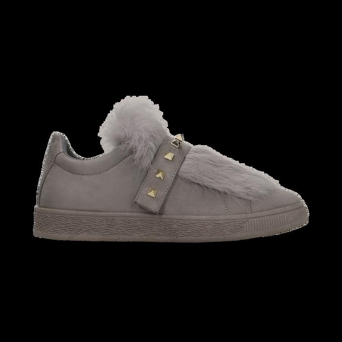 Sneakers grigie slip-on con dettagli faux-fur e borchie, Scarpe, 129300023MFGRIG